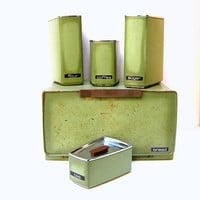 Vintage Canisters Set of 5 incl Breadbox  Rusty Green by ShopMichL