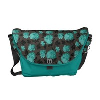 Teal Floral pattern Rickshaw Messenger Bag