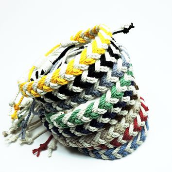 Adjustable Woven Chevron Anklet, Nautical Colors