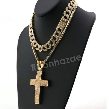 Hip Hop Quavo BIG CROSS Miami Cuban Choker Tennis Chain Necklace L12