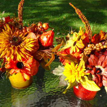 Fall Floral Arrangements in Fall Themed Metal Containers, Two Coordinating Arrangements, Centerpieces, Thanksgiving Centerpieces, Fall Decor