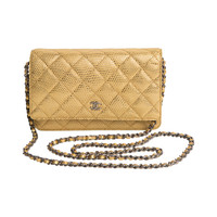Chanel Limited Edition Lizard Gold Leather Quilted Wallet with Chain