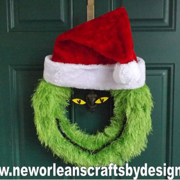 Grinch Green Fun Fur Yarn Wreath