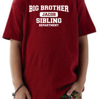 Big brother sibling t-shirt. Personalize t-shirt. Youth boys t-shirt
