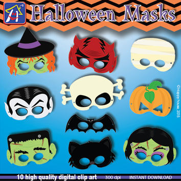 Halloween Party Masks Clipart, DIY Halloween Digital Clip Art Pack, Halloween Paper Craft, Halloween party,Halloween kids,Party Supplies