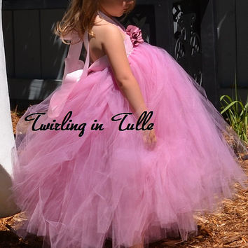 Pink Mauve Tulle Flower Girl  Dress Size 2-4T