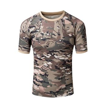 Quick Dry Outdoor Hiking Military Camouflage Hunting T Shirt Mountain Climbing Sports Tops