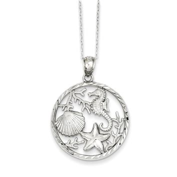 Sterling Silver 18 Inch Seahorse, Starfish and Shell Pendant