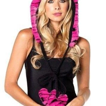 Leg Avenue Female Plush Tiger Print Hood W/Fuzzy Heart Ties. *Glows Under Black Light A1942