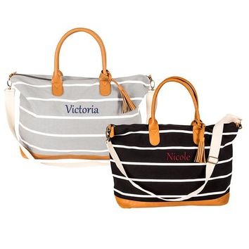 Luggage Bags - Chic Striped Canvas Oversized Weekender Tote with Leather Accents