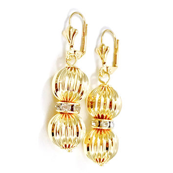 Double Sphere Cz Lever Back 18kts Gold Plated Earrings