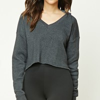 Heathered Cropped Fleece Hoodie