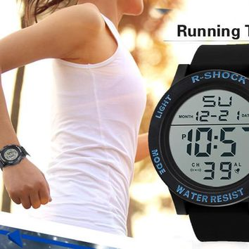 Fashion Sport Watch 2017 High Quality Waterproof Men's Boy LCD Digital Stopwatch Date Rubber Wrist Watch relogio digital