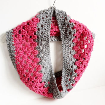 Pink And Gray Scarf, Crochet Infinity Scarf, Crochet Cowl, Handmade Scarf, Knit Scarf, Girls Pink Scarf, Gray and Pink, Knit Infinity Scarf