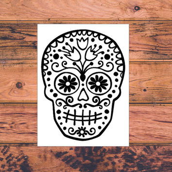 Sugar Skull Decal | Sugar Skull Car Truck Decal | Fancy Skull Decal | Sugar Skull Head Decal | Preppy Car Decal | Southern Car Decal  | 188