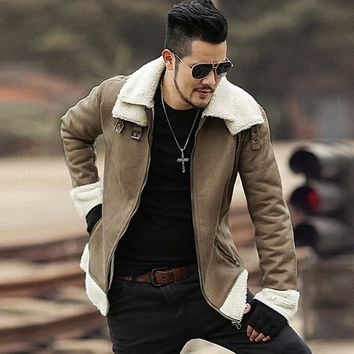 2018 Men new winter brown Lambs woolen faux fur jacket metrosexual man warm thick European style motorcycle bikers jacket coat