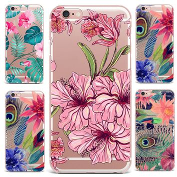 Case For Apple iPhone 7 8 Plus 7 6S 8 6 Plus X 4 5s Mobile Phone Shell Flowers Patterned Series Soft TPU Cute Tropical Plants