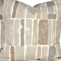 Gray Pillow Covers Rectangles Modern Abstract Brown Sand Beige Decorative Designer Pair 18x18