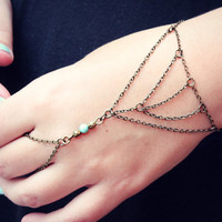 triangle slave bracelet with turquoise bead, bracelet ring, ring bracelet, boho bracelet, hipster bracelet, slave ring
