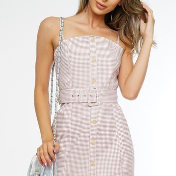 Malibu Gingham Dress - Taupe