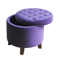 Velvet Tufted Round Ottoman with Storage | Overstock.com Shopping - The Best Deals on Ottomans