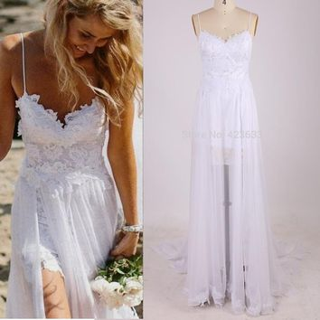 Spaghetti Strap Beach Wedding Dress Boho Cheap Bohemian Lace Front Short Long Back Wedding Gown 2016 Bride Dress under 100