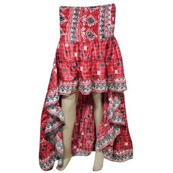 Mogul Womens High Low Skirt Recycled Sari Full Flare Twirling Ruffle Vintage Belly Dance Skirts - Walmart.com