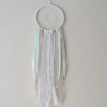 Mint Boho Dreamcatcher, Nursery Dreamcatcher, Handmade Dreamcatcher, Mint&Gold, Boho Chic, Dreamcatcher