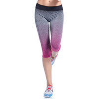 Yoga Sport Leggings Summer Capri Pants For Running Fitness Gym Clothes Elastic Capris Gym Athletic Sports Leggings