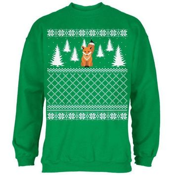 CREYCY8 Fox Ugly Christmas Sweater Irish Green Adult Sweatshirt