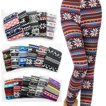 Stripe Deer Snow  Print Fleece Leggings Warm Boots Pants B0014144