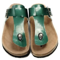 Birkenstock Leather Cork Flats Shoes Women Men Casual Sandals Shoes Soft Footbed Slippers-12