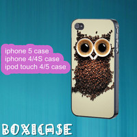 Coffee Owl--iphone 4 case,iphone 5 case,ipod touch 4 case,ipod touch 5 case,in plastic,silicone and  black , white.