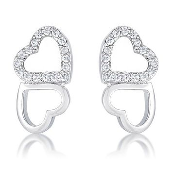 Amelia Earrings - Women's Rhodium Plated And Clear CZ Heart Shaped Stud Earrings
