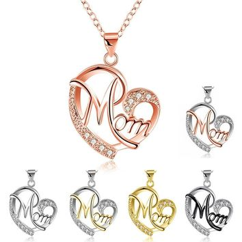 Fashion Letter MOM Heart Shape Inlaid Crystal Pendant Necklace Mother's Day Gift High Quality Jewelry
