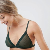 Weekday mesh spot triangle bra in dark green at asos.com