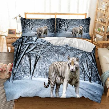 Wongs bedding 3d tiger snow white duvet cover Bedding set quilt Cover Bed Set 3pcs twin queen king size home textile