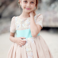 Fancy Moo Moo- Custom Flower Girl Dress Example (Seen here in Blush with Turquoise Sash)