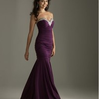 Strapless Jeweled Bodice Fitted Gown