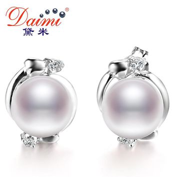 Pearl Ethnic Earrings Real White Pearl Earrings Flower Earring For Female Birthday Gift