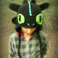 How To Train Your Dragon 2 Inspired Toothless Hat with Lightning Blue Accents