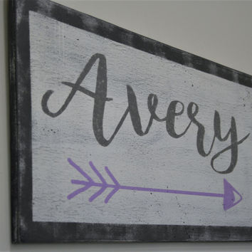 Wood Sign Girls Nursery Wall Decor Girls Nursery Wall Hanging Personalized Nursery Decor Gray And Lavender Nursery Baby Shower Gift