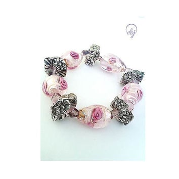Pink, Silver Foil and Pewter Bead Bracelet - British Handmade Jewellery