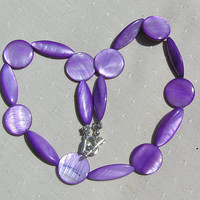 "Purple Mother of Pearl Necklace ""Mallow"" Special Offer Price"