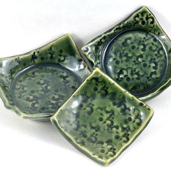 CIJ SALE Condiment Set Square Dishes Handmade Nesting Bowls Pottery Floral Tableware Green Ceramic Serving Bowls - Set of Three