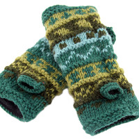 16422 Wool Wrist Warmers-Forest*