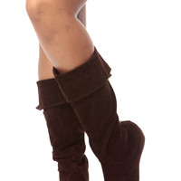 Brown Faux Suede Fold Over Calf Length Boots