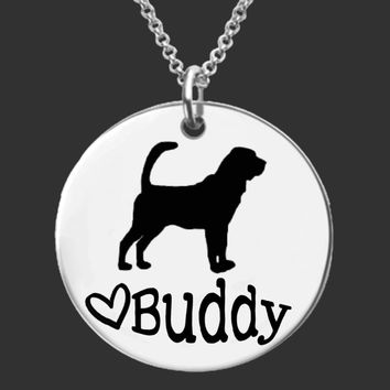 Bloodhound Dog Personalized Necklace