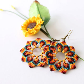 Macrame mandala flower boho hippie earrings orange green