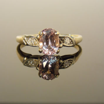 Light Pink Oval Ceylon Sapphire and Diamond Engagement Ring Everyday Ring RGSA1N
